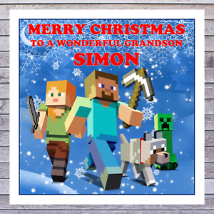 KIDS MINECRAFT CHRISTMAS CARDS - personalised with any RELATIONSHIP & NAME