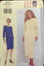 VOGUE Sewing Pattern 7264 TODAY'S FIT Misses Petite Pullover Top Mock-wrap Skirt