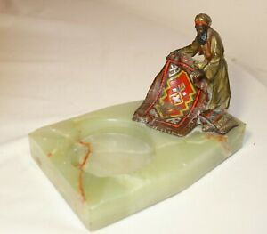 antique cold painted Austrian bronze onyx Arabian man ashtray statue sculpture