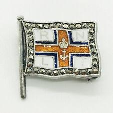 More details for royal national life-boat institution silver marcasite enamel brooch badge rnli