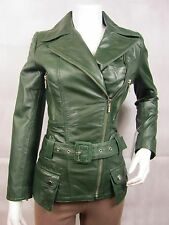 Ladies Green Napa Leather Slim Tight Fitted Zip  Biker Jacket Bike