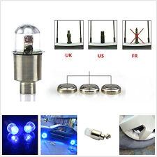 4 X Cool Spoke Lights Blue LED Automobile Wheel Valve Stems Air Dust Covers Caps