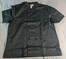 Chef Uniforms Men's Button Closure Short Sleeves Chef Jacket Ew9 Black Large Nwt