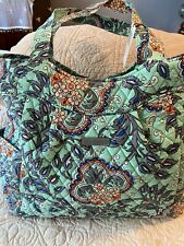 NEW! Vera Bradley Pleated Tote Quilted Cotton Shoulder Bag Fan Flowers MSRP $89