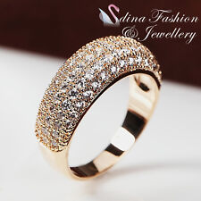 18K Yellow Gold Plated Diamond Studded Luxury Engagement Wedding Band Ring