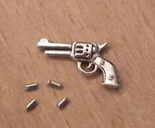 1/12, casa de muñecas en miniatura de metal Pistola/Pistola y 4 balas de oficina estudio etc lgw