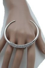 Women Knuckle Ring Big Silver Bling Half Moon Fashion Jewelry Bull Nose Size 7
