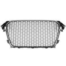 RS4 Style Front Mesh Grille for Audi A4 S4 B8.5 13-16 - Gloss Black/Chrome