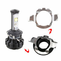 2Pcs H7 LED Headlight Lamp Bulb Adapter Retainer Holder Stainless Steel Support