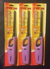 3 pack LIGHT PURPLE REFILLABLE Utility Lighter bbq fireplaces campfires candles