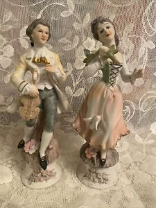 """VINTAGE CAPODIMONTE ITALY COLONIAL BOY AND GIRL PAIR  8.5"""" 1960's"""