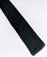 Vintage black flat end silk tie/cravat gentleman's evening wear 1920s-1940s