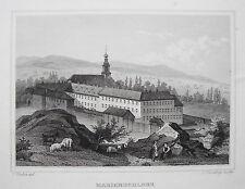Kloster Marienschloss Rockenberg Zuchthaus Wetterau echter alter Stahlstich 1850