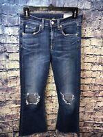 Rag & Bone 10 Inch Crop Flare Distressed Raw Hem Jeans Size 26🔥Free ship✔️💯