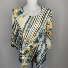 NEW • GERRY WEBER • Blue Green Floral Stripe Abstract Top • Size 18 • RRP £60