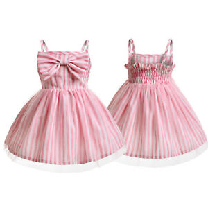 Toddler Kids Girls Bow-Knot Striped Tutu Dress Summer Skater Dress Party Outfits