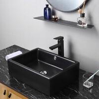 "20"" Black Bathroom Vessel Sink Countertop Porcelain Basin Pop up Drain Hotel Kit"