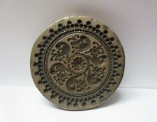 VINTAGE INDIAN BRASS METAL JEWELRY MAKING TOOL MOLD STAMP ROUND PARROT PATTERN