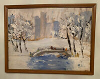Vintage Colorful Impressionist Landscape NYC Oil Painting on Canvas Not Signed