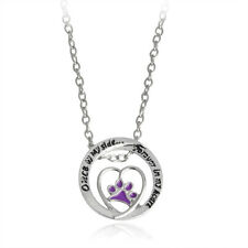 Pet Lover Dog Paw Print Hollow Heart Pendant Necklace Alloy Silver Plated