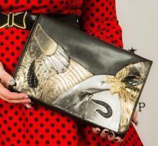 oversized black metallic silver gold patchwork animal print clutch bag