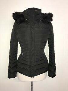 ARMANI Jeans -Ladies Waterproof BLACK Down & Feather WARM QUILTED COAT - Size 8
