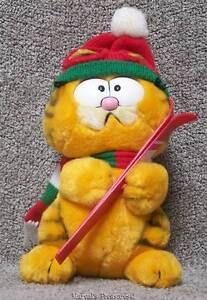 "Vintage 10th Anniv. Garfield Winter Snow SKIER Stuffed Plush 9"" w/Tag 1988 Dakin"