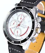 Para Hombre Henley Negro Cuarzo Reloj Multi Función Día Fecha & 24 horas, caída de precios