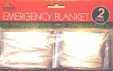 2 x FOIL THERMAL BLANKETS EMERGENCY COVER SURVIVAL FIRST AID CAMPING GARDEN KIT