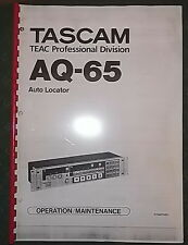 OPERATION MAINTENANCE  TASCAM AQ65