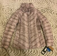 New Bernardo Women Snake Print Pink Puffer Coat Jacket Packable Size XS XSmall