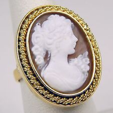 Yellow Gold Size 5 1/2 #4269 Oval Shell Cameo Ring 18 kt
