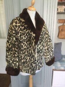 Vintage 50s Faux Fur Leopard Print Jacket Size 12