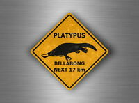 Autocollant sticker voiture moto panneau australie attention danger platypus