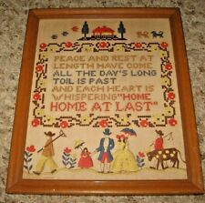 VINTAGE~BUZZA SAMPLER MOTTO~CROSS STITCH NEEDLEPOINT W FRAME~NOT FABRIC