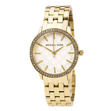 Michael Kors MK3120 Women's Crystal Accented Bezel Gold Steel Bracelet Watch NWT