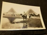 Vintage PHOTO POSTCARD Pyramids in Cairo Egypt post card unused Bedouin on camel