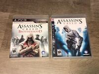 Assassin's Creed & Brotherhood PlayStation 3 PS3 2 Game Lot Complete CIB