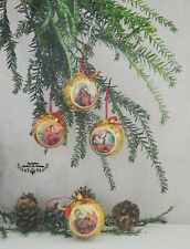 3 Christmas Ornaments Vintage Father Christmas Motif Gold French Horn Ornament
