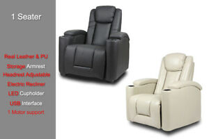 Sofa Electric Recliner LED Cupholder USB Chair Leather Armchair Storage Armrest