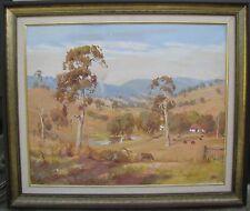 """PETER DUNNE AUSTRALIAN FRAMED OIL """"SUMMER PASTORAL SOUTH GIPPSLAND"""" 1982"""