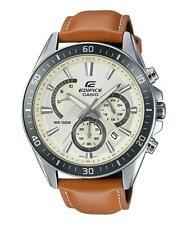 CASIO EDIFICE, EFR-552L-7A, NEOBRITE HANDS, SILVER TONE DIAL, BROWN LEATHER BAND