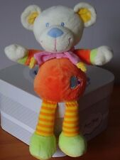 DOUDOU OURS NICOTOY 30 CM CORPS ORANGE BRODE COEUR BLEU JAMBES RAYEES JAUNES