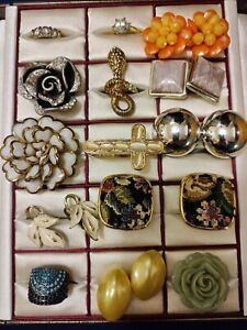 Mixed Costume Jewellery Bundle Job Lot Vintage and Modern Rings & Clip Earrings