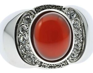 Red Agate Ruby Simulated Stone Cz Accented Stainless Steel Mens Ring Size 13 T23