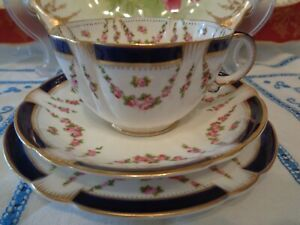 Sparkling Antique Tea Trio By George Jones & Sons - Blue Rims, Pink Rose Swags
