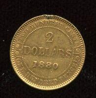 1880 Newfoundland $2 Two Dollar Gold Coin - Scarce