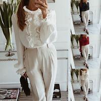 Damen Langarm Top Shirt Victorian Vintage Spitzen Elegant Business Hemd Bluse