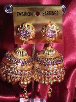 Bollywood Gimmiki Diwali Indian Designer Earrings Gold Tone Purple Jhumka M6