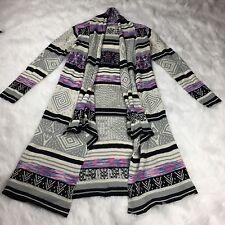 California Gypsy Womens Duster Cardigan Aztec Print Festival Boho Size Large